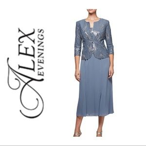 Alex Evenings Sequin Chiffon 2pc Jacket Dress